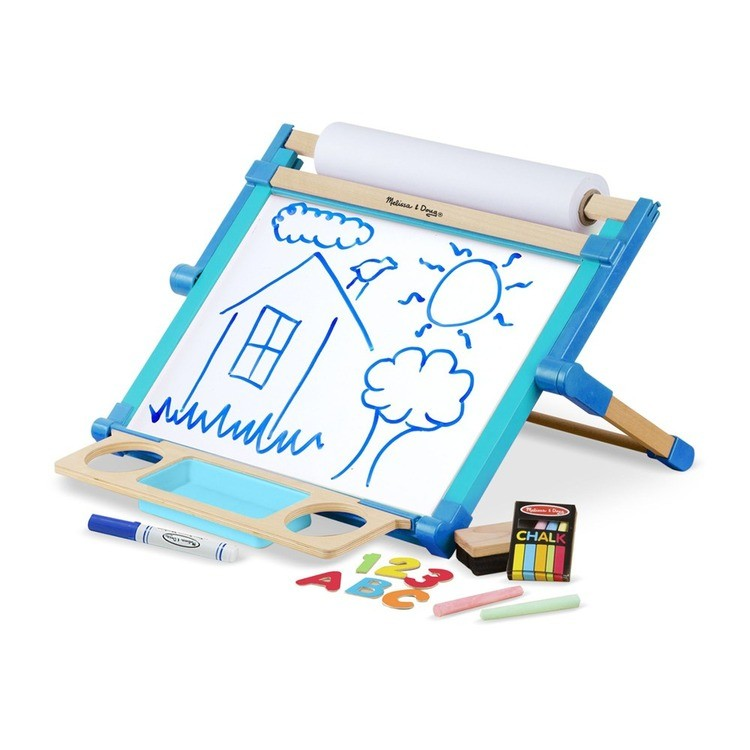 cheap Melissa & Doug Double-Sided Magnetic Tabletop Art Easel - Dry-Erase Board and Chalkboard competitive reasonable