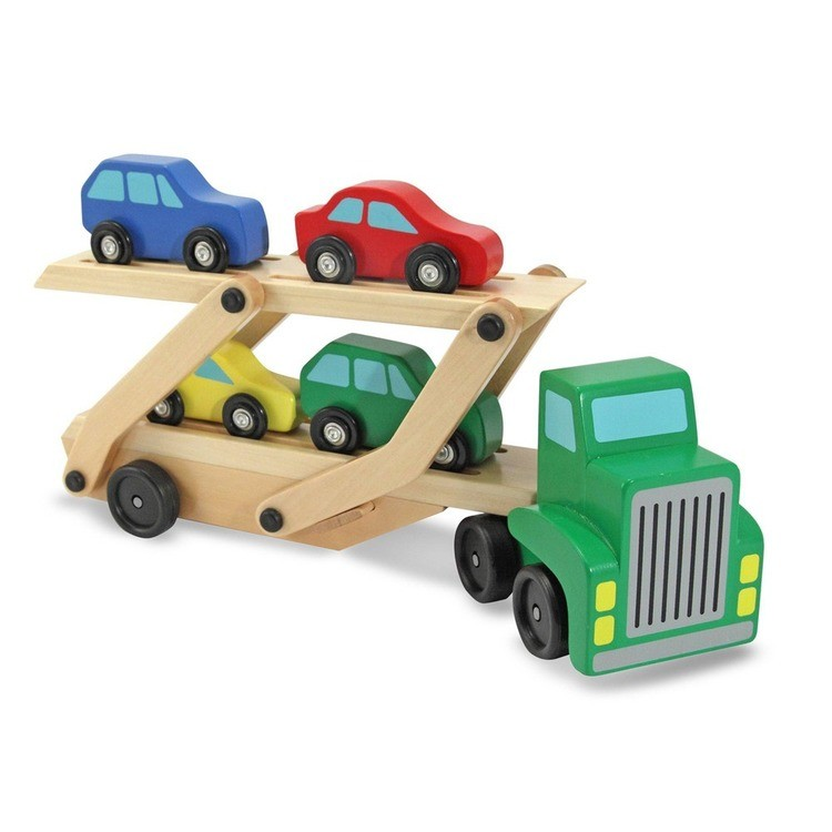 reasonable Melissa & Doug Car Carrier Truck and Cars Wooden Toy Set With 1 Truck and 4 Cars competitive cheap