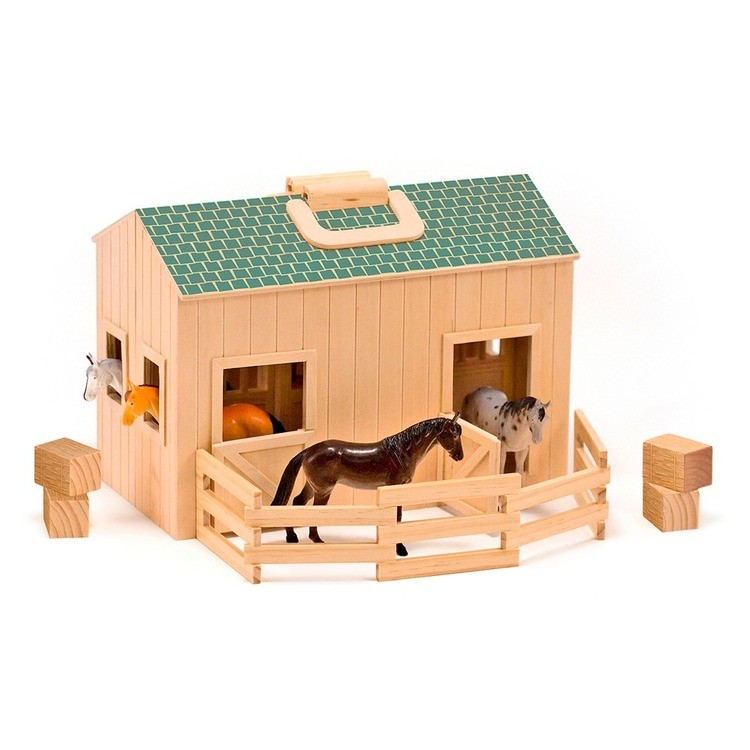 cheap Melissa & Doug Fold and Go Wooden Horse Stable Dollhouse With Handle and Toy Horses (11 pc) competitive reasonable