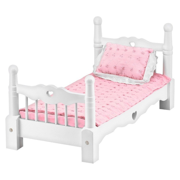 reasonable Melissa & Doug White Wooden Doll Bed With Bedding (24 x 12 x 11 inches) cheap competitive