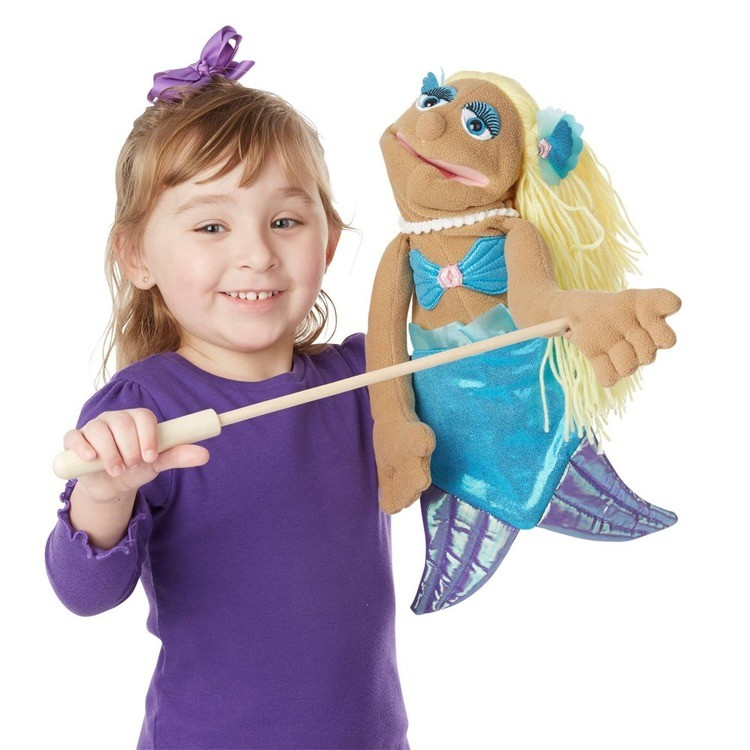 cheap Melissa & Doug Mermaid Puppet With Detachable Wooden Rod for Animated Gestures reasonable competitive