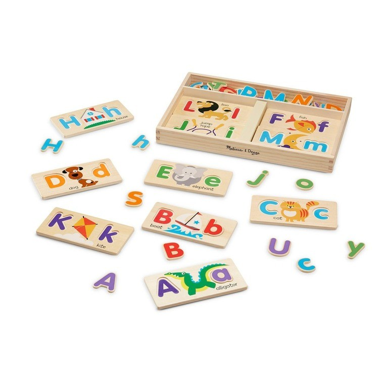 competitive Melissa & Doug ABC Picture Boards - Educational Toy With 13 Double-Sided Wooden Boards and 52 Letters reasonable cheap