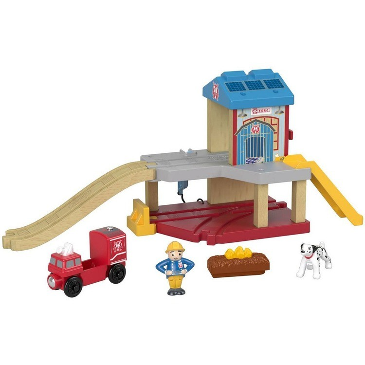 competitive Fisher-Price Thomas & Friends Wood Eco Rescue Firehouse Set reasonable cheap