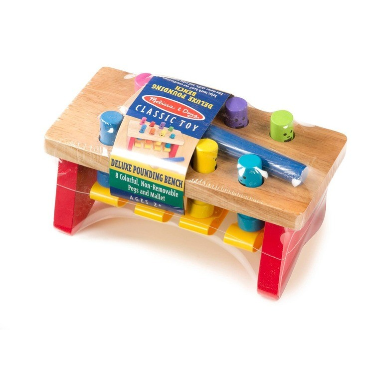 cheap Melissa & Doug Deluxe Pounding Bench Wooden Toy With Mallet competitive reasonable