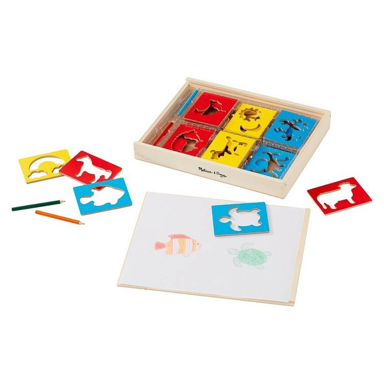 reasonable Melissa & Doug Wooden Stencil Set With 27 Themed Stencils and 4 Pencils competitive cheap