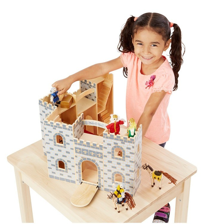 cheap Melissa & Doug Fold and Go Wooden Castle Dollhouse With Wooden Dolls and Horses (12pc) competitive reasonable