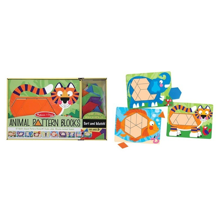 reasonable Melissa & Doug Animal Pattern Blocks Set With 5 Double-Sided Wooden Boards and 47 Multi-Shaped Blocks competitive cheap