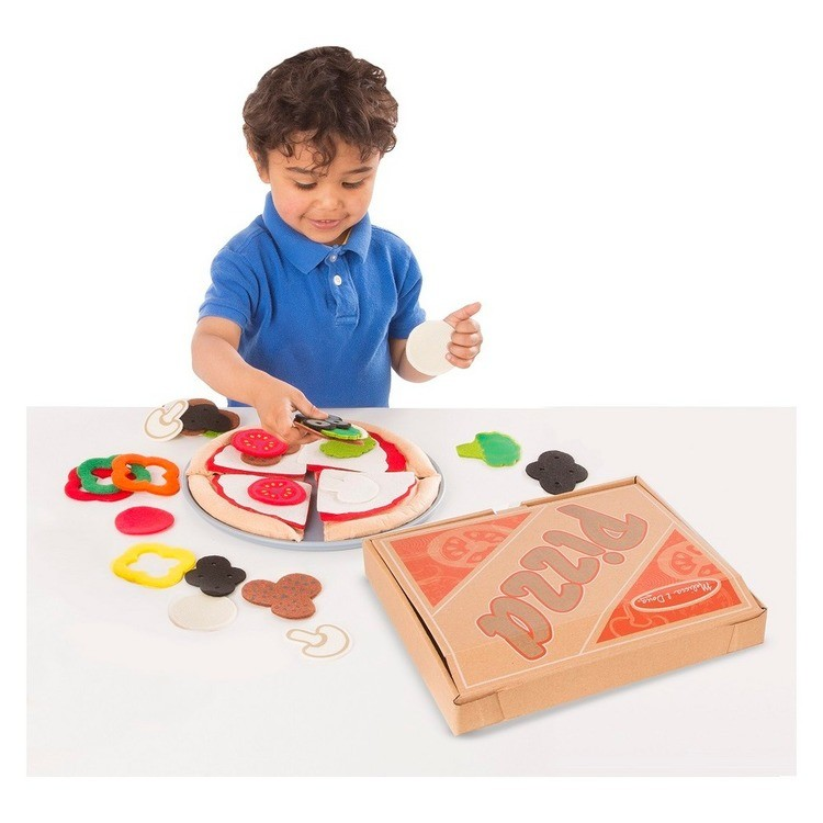 competitive Melissa & Doug Felt Food Mix 'n Match Pizza Play Food Set (40pc) reasonable cheap