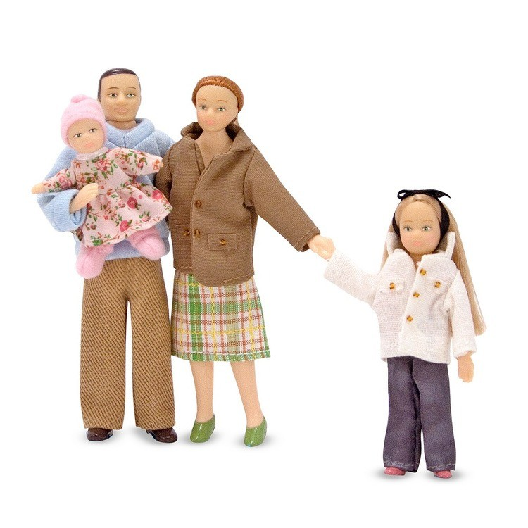 cheap Melissa & Doug 4-Piece Victorian Vinyl Poseable Doll Family for Dollhouse - 1:12 Scale competitive reasonable