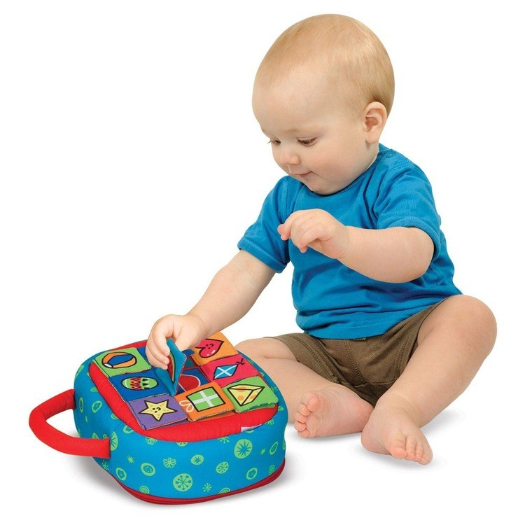 competitive Melissa & Doug K's Kids Take-Along Shape Sorter Baby Toy With 2-Sided Activity Bag and 9 Textured Shape Blocks cheap reasonable
