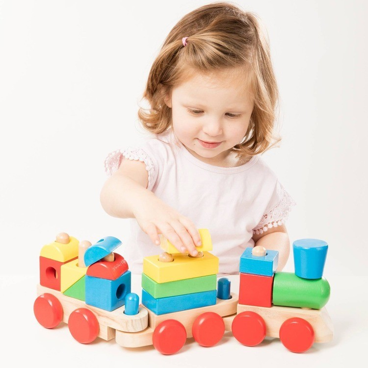 competitive Melissa & Doug Stacking Train - Classic Wooden Toddler Toy (18pc) cheap reasonable