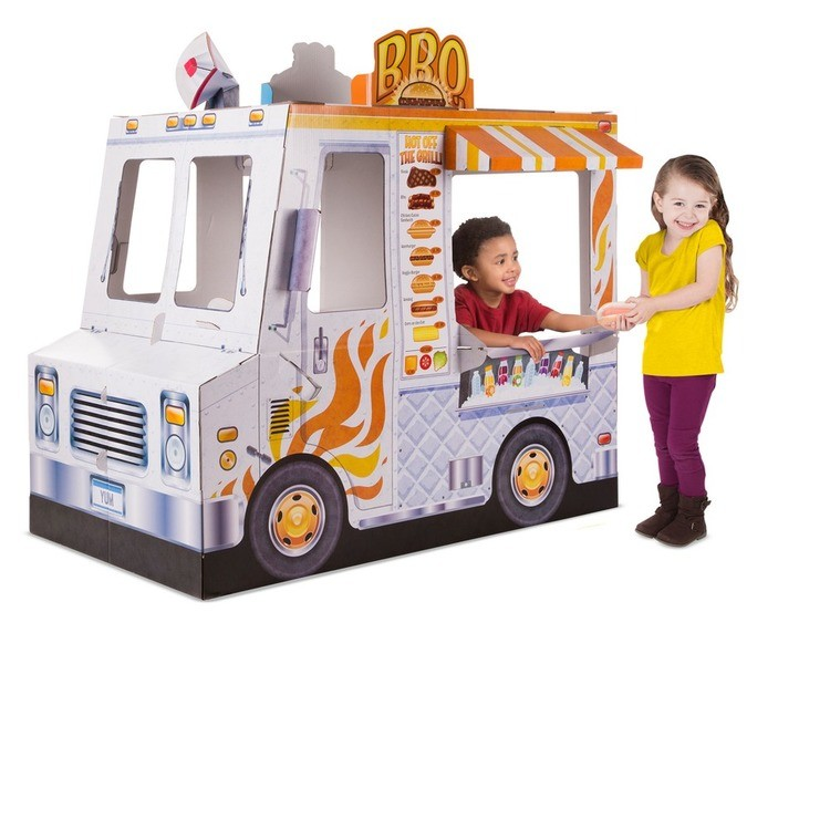 reasonable Melissa & Doug Food Truck Indoor Corrugate Playhouse (Over 4' Long) cheap competitive