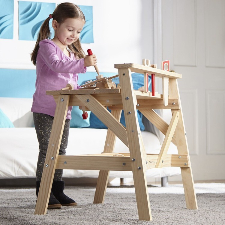reasonable Melissa & Doug Solid Wood Project Workbench Play Building Set competitive cheap