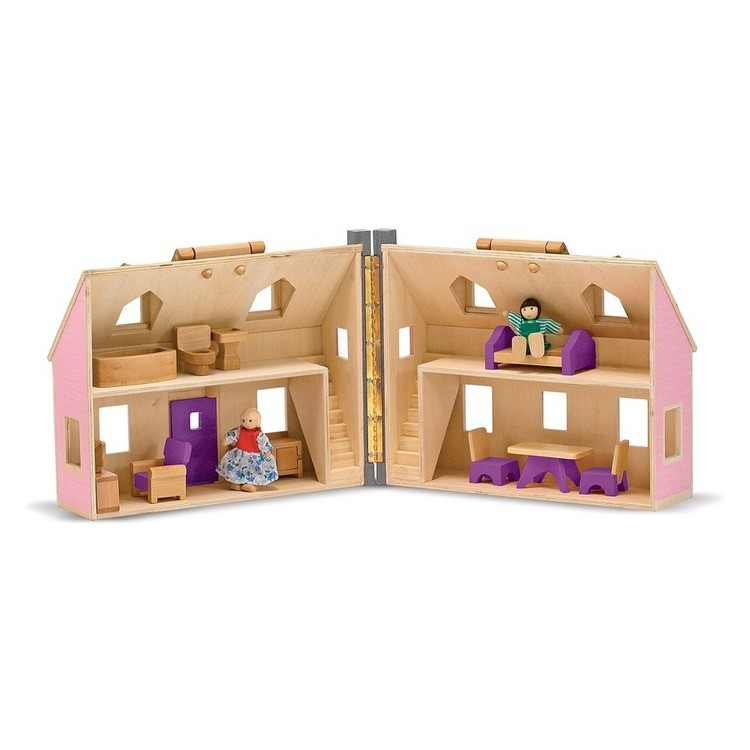 cheap Melissa & Doug Fold and Go Wooden Dollhouse With 2 Dolls and Wooden Furniture reasonable competitive