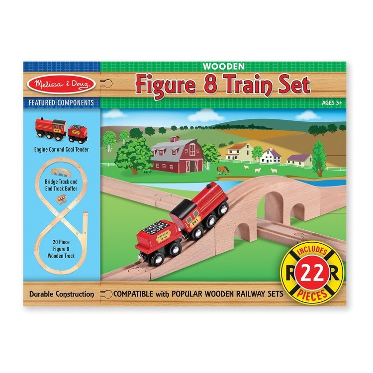 cheap Melissa & Doug Classic Wooden Figure Eight Train Set (22pc) reasonable competitive