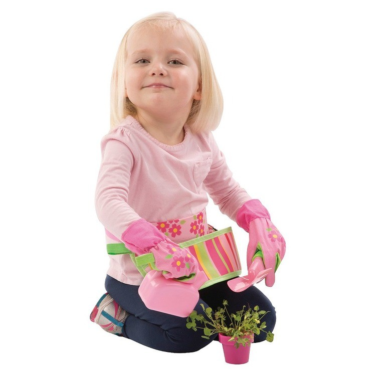 cheap Melissa & Doug Sunny Patch Blossom Bright Garden Tool Belt Set With Gloves, Trowel, Watering Can, and Pot competitive reasonable