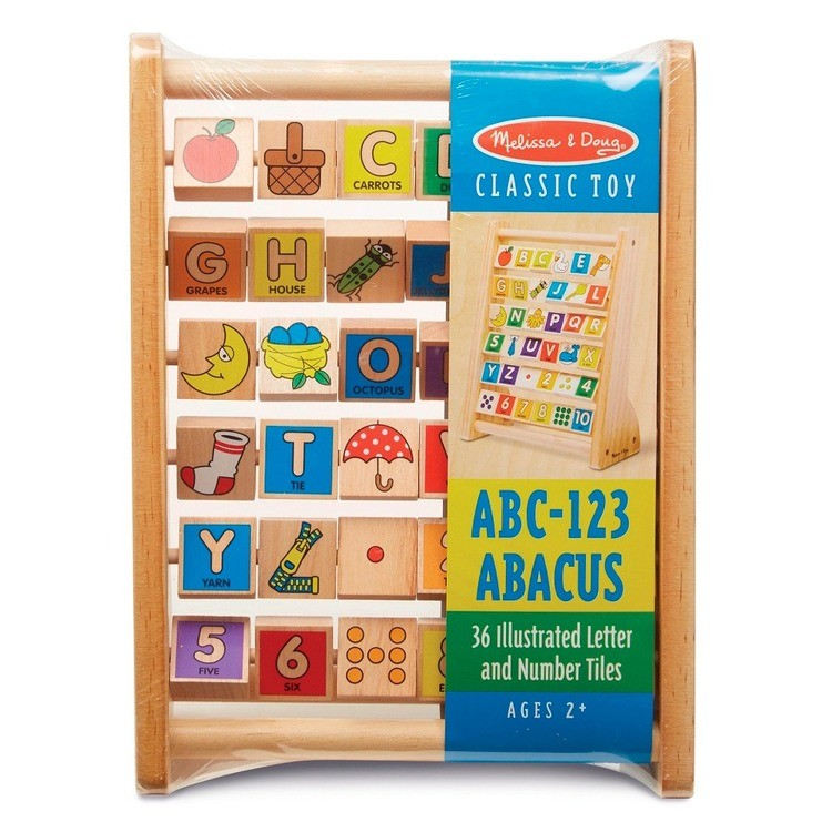competitive Melissa & Doug ABC-123 Abacus - Classic Wooden Educational Toy With 36 Letter and Number Tiles cheap reasonable