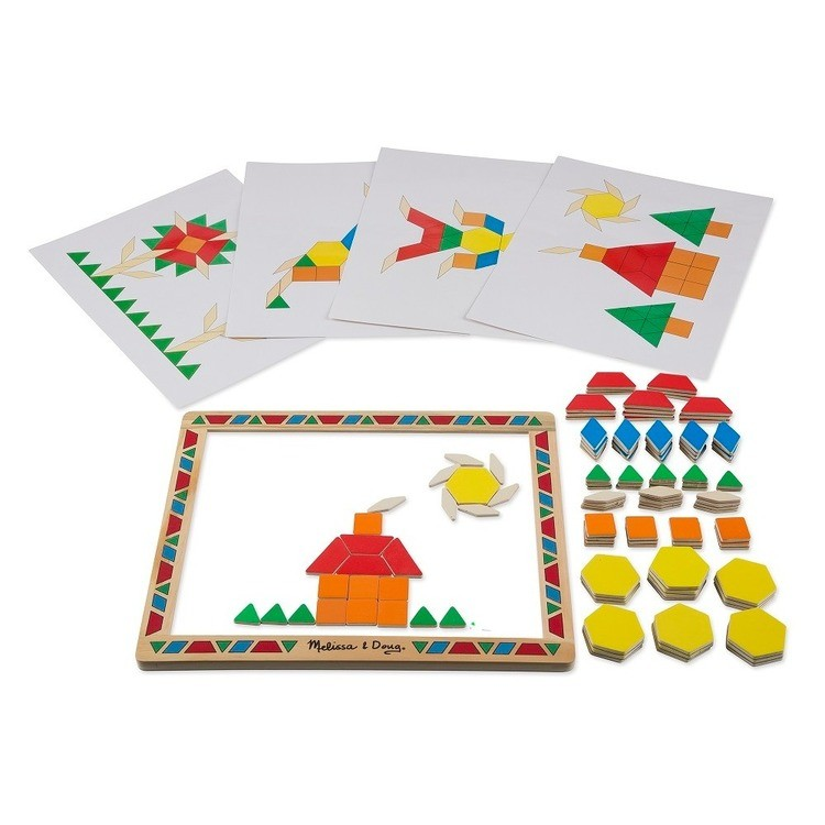 cheap Melissa & Doug Deluxe Wooden Magnetic Pattern Blocks Set - Educational Toy With 120 Magnets and Carrying Case reasonable competitive