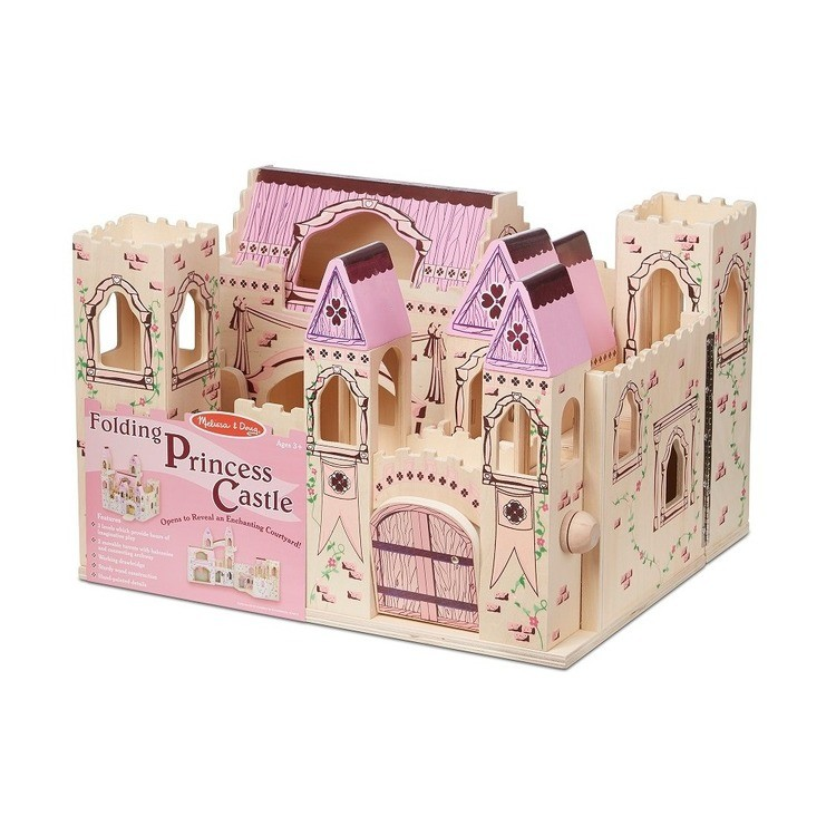competitive Melissa & Doug Folding Princess Castle Wooden Dollhouse With Drawbridge and Turrets cheap reasonable