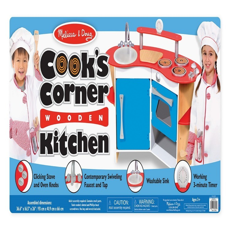 competitive Melissa & Doug Cook's Corner Wooden Kitchen Pretend Play Set cheap reasonable