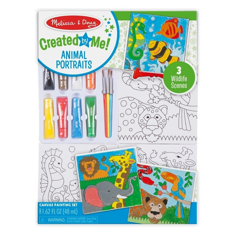 reasonable Melissa & Doug Canvas Painting Set: Animals - 3 Canvases, 8 Tubes of Paint competitive cheap