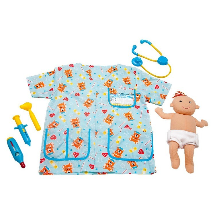 competitive Melissa & Doug Pediatric Nurse Role Play Costume Set (8pc) - Includes Baby Doll, Stethoscope, Adult Unisex, Size: Newborn, Gold reasonable cheap