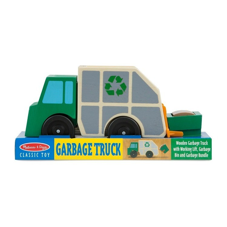 cheap Melissa & Doug Garbage Truck Wooden Vehicle Toy (3pc) competitive reasonable