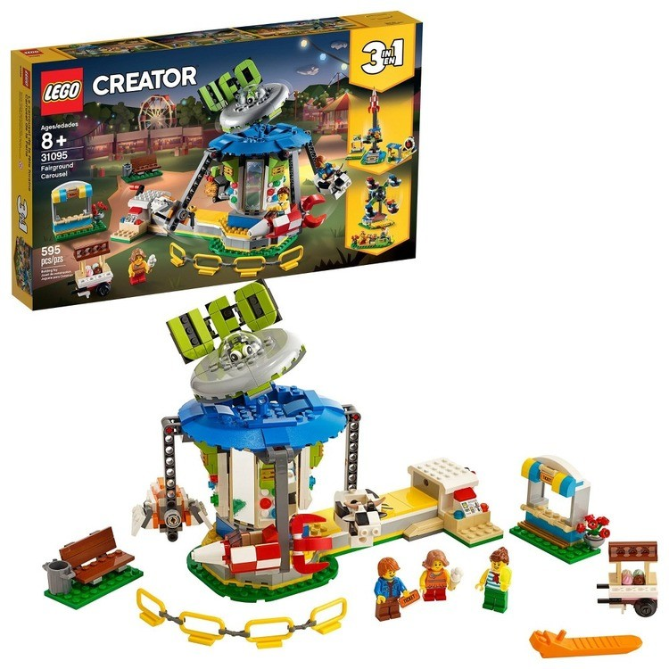 competitive LEGO Creator Fairground Carousel 31095 Space-Themed Building Kit with Ice Cream Cart 595pc cheap reasonable