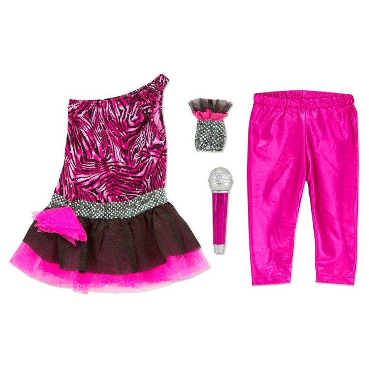 reasonable Melissa & Doug Rock Star Role Play Costume Set (4pc) - Includes Zebra-Print Dress, Microphone, Women's, Gold/Pink competitive cheap