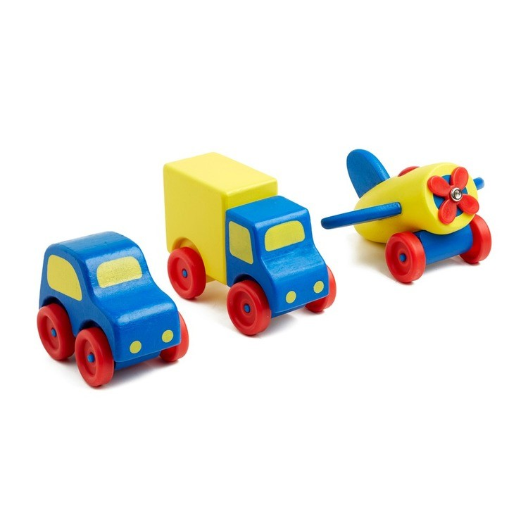 reasonable Melissa & Doug Deluxe Wooden First Vehicles Set With Truck, Car, and Airplane cheap competitive