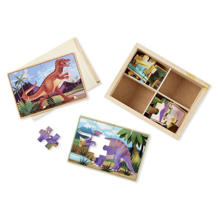 reasonable Melissa & Doug Dinosaurs 4-in-1 Wooden Jigsaw Puzzles in a Storage Box (48pc) competitive cheap