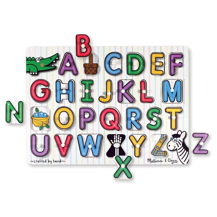 reasonable Melissa & Doug Wooden Peg Puzzles Set - Alphabet, Numbers, and Vehicles 44pc cheap competitive