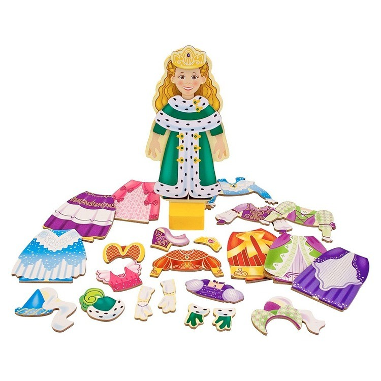reasonable Melissa & Doug Deluxe Princess Elise Magnetic Wooden Dress-Up Doll Play Set (24pc) competitive cheap