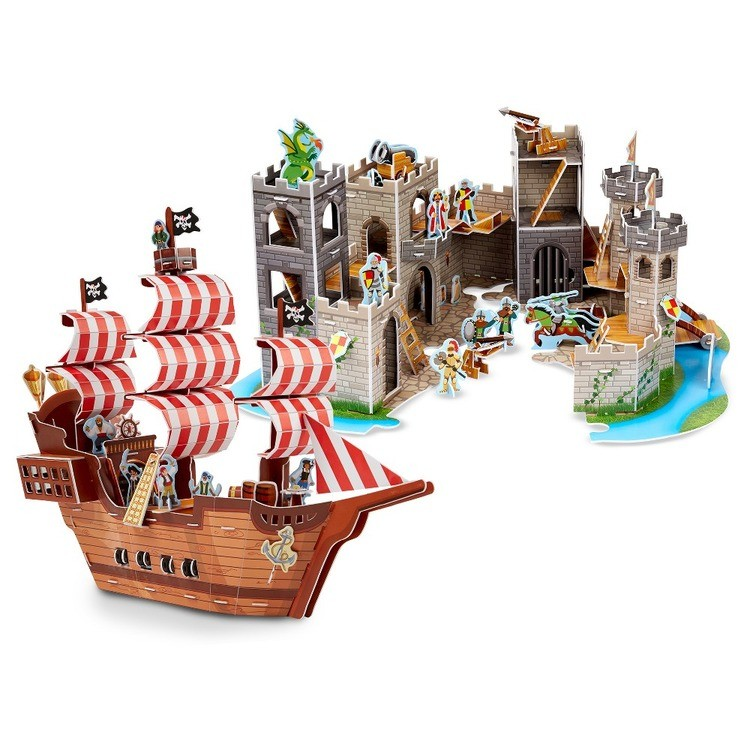 cheap Melissa And Doug Pirate Ship And Medieval Castle 3D Puzzle 200pc reasonable competitive