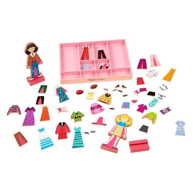 cheap Melissa & Doug Abby and Emma Deluxe Magnetic Wooden Dress-Up Dolls Play Set (55+pc) reasonable competitive
