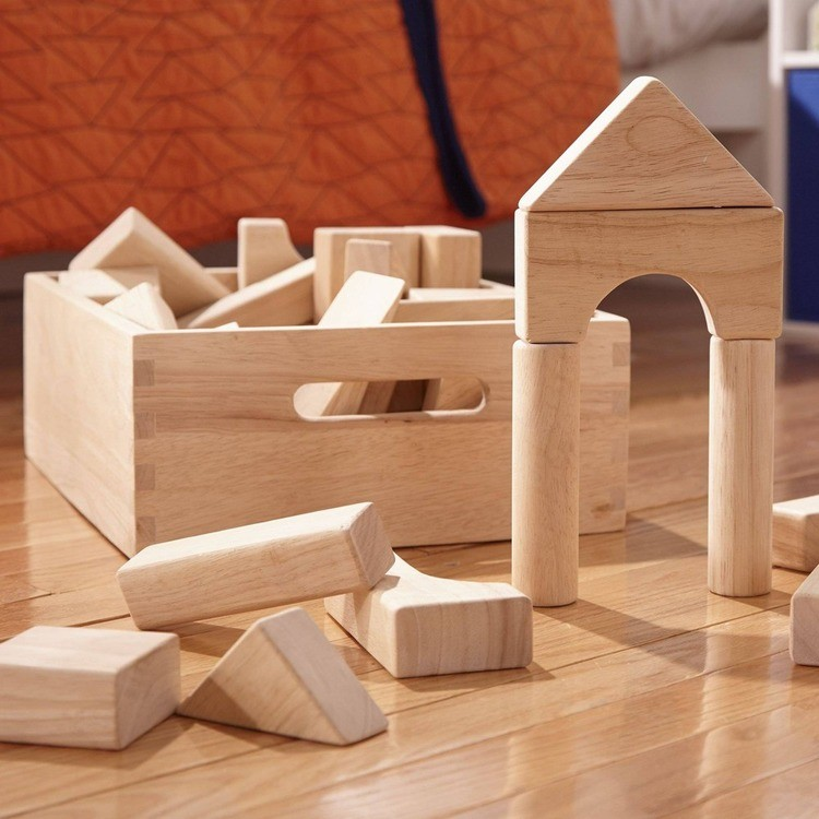 competitive Melissa & Doug Standard Unit Solid-Wood Building Blocks With Wooden Storage Tray (60pc) reasonable cheap