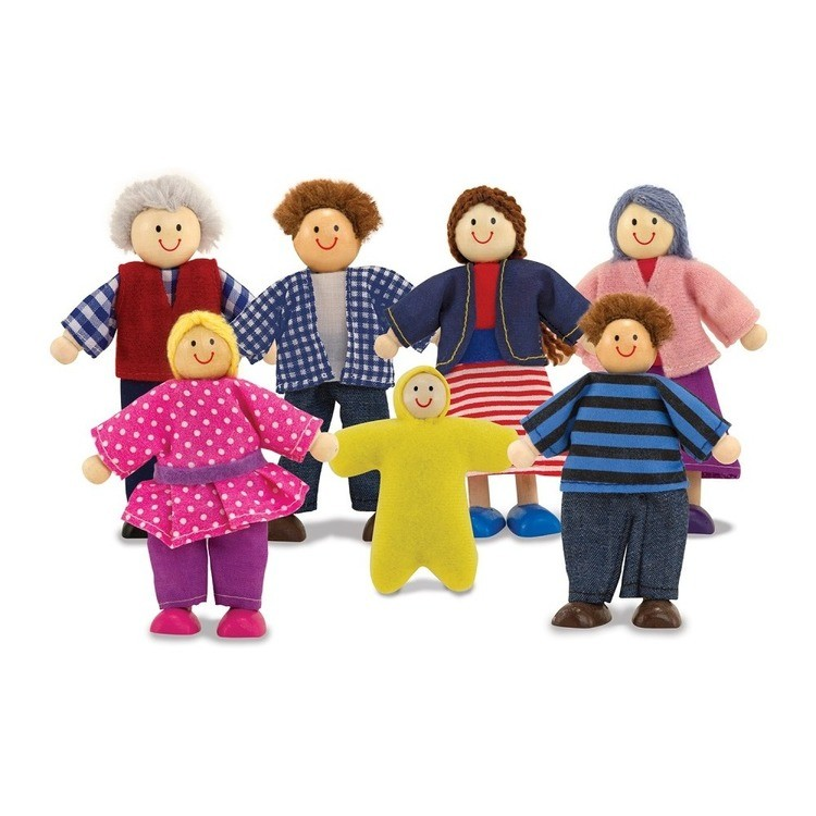 reasonable Melissa & Doug 7-Piece Poseable Wooden Doll Family for Dollhouse (2-4 inches each) cheap competitive