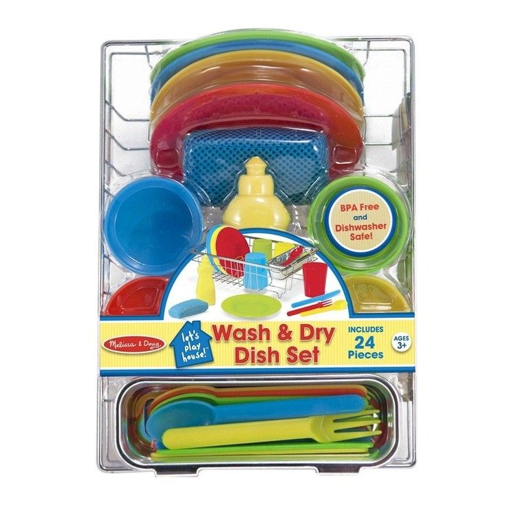 reasonable Melissa & Doug Let's Play House Wash and Dry Dish Set (24pc) cheap competitive