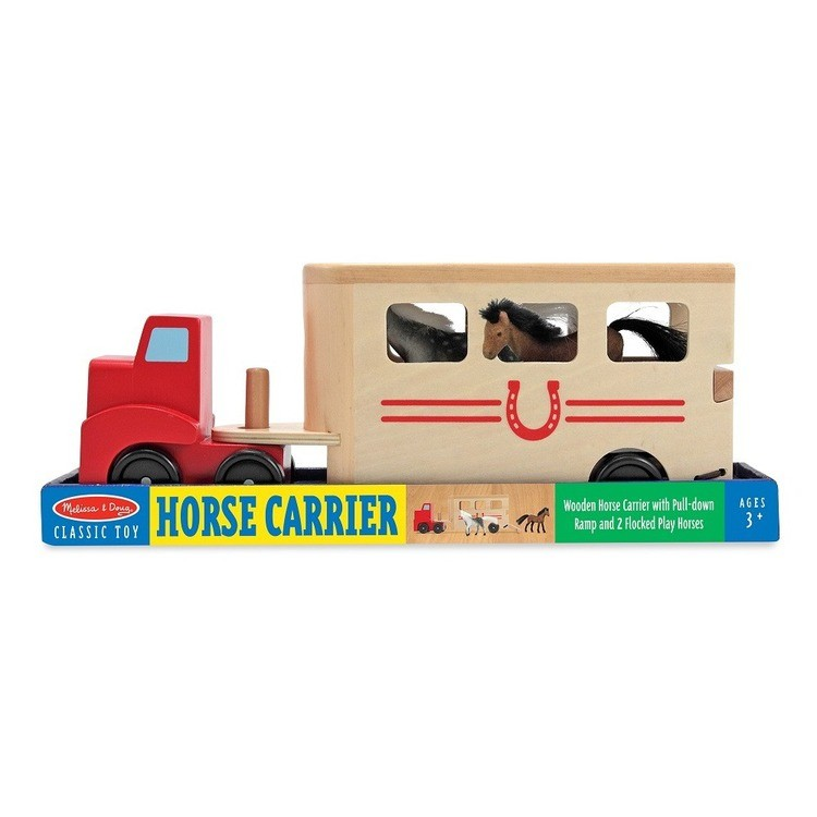 cheap Melissa & Doug Horse Carrier Wooden Vehicle Play Set With 2 Flocked Horses and Pull-Down Ramp reasonable competitive