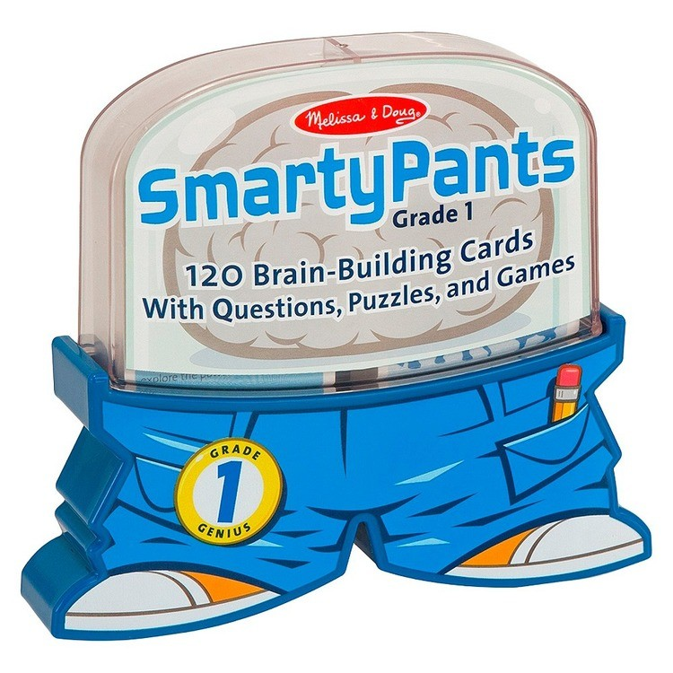 cheap Melissa & Doug Smarty Pants 1st Grade Card Set - 120 Educational, Brain-Building Questions, Puzzles, and Games, Kids Unisex competitive reasonable