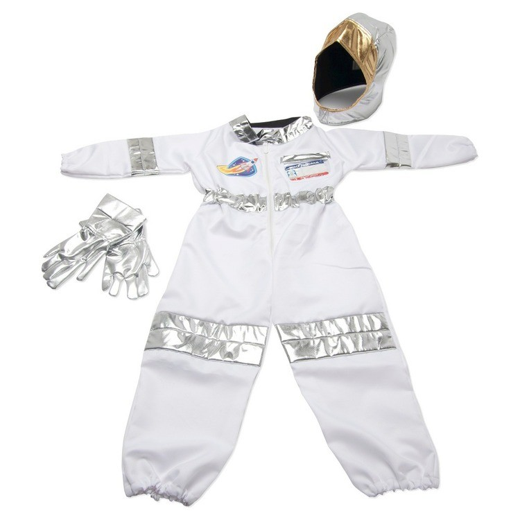 competitive Melissa & Doug Astronaut Role Play Costume Set (5pc) - Jumpsuit, Helmet, Gloves, Name Tag, Adult Unisex, Size: Small, Red/Gold/Silver cheap reasonable