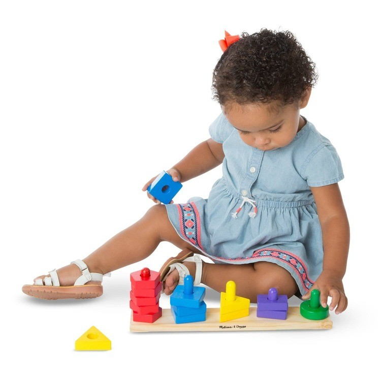 cheap Melissa & Doug Classic Wooden Toy Bundle - Pound-A-Peg, Stack and Sort Board competitive reasonable