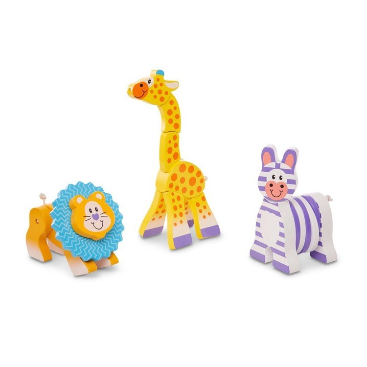 reasonable Melissa & Doug First Play Set of 3 Safari Animal Wooden Grasping Toys competitive cheap