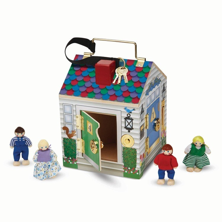 reasonable Melissa & Doug Take-Along Wooden Doorbell Dollhouse - Doorbell Sounds, Keys, 4 Poseable Wooden Dolls cheap competitive