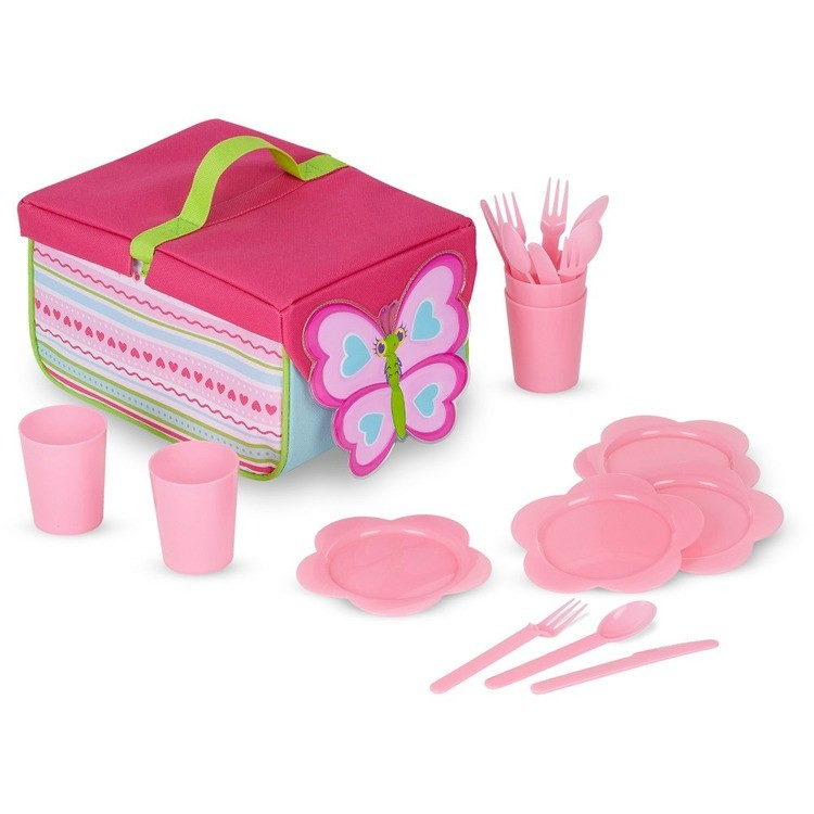 cheap Melissa & Doug Sunny Patch Cutie Pie Butterfly Picnic Set With Basket, Plates, and Utensils competitive reasonable