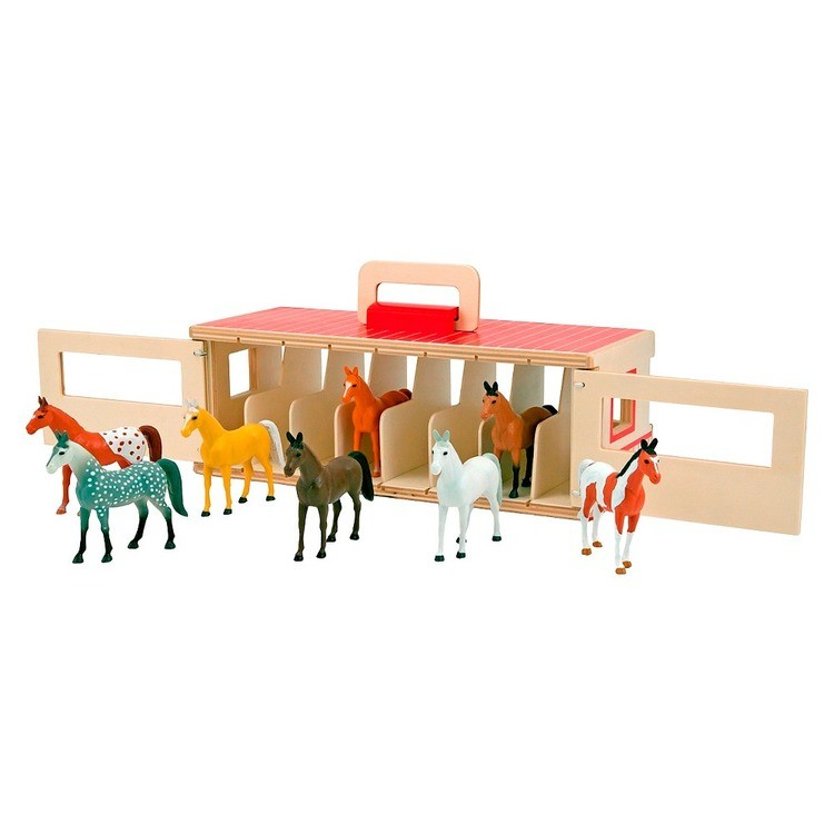 competitive Melissa & Doug Take-Along Show-Horse Stable Play Set With Wooden Stable Box and 8 Toy Horses cheap reasonable