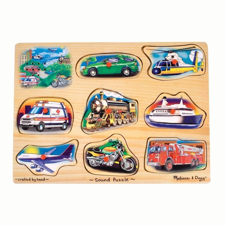 reasonable Melissa And Doug Vehicle Puzzle Wooden Peg Sound Puzzle 8pc competitive cheap