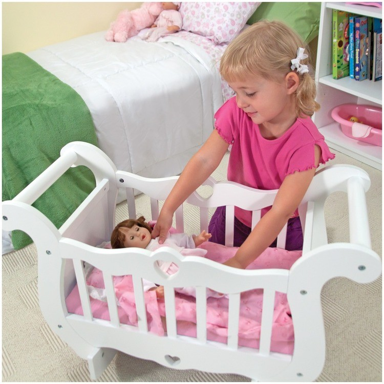 competitive Melissa & Doug White Wooden Doll Crib With Bedding (30 x 18 x 16 inches) reasonable cheap