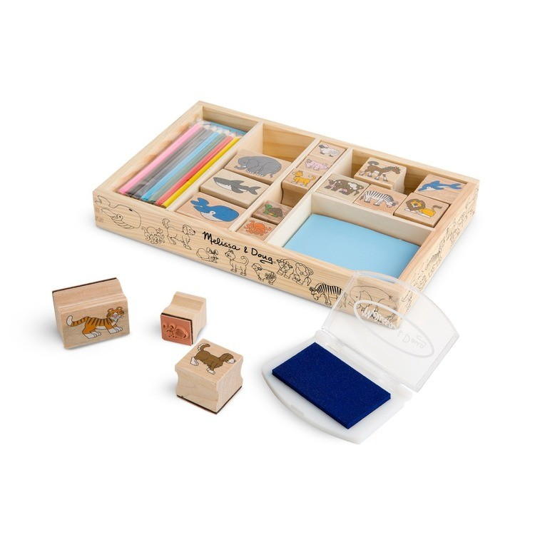 competitive Melissa & Doug Wooden Stamp Set: Animals - 16 Stamps, 4 Colored Pencils, Stamp Pad reasonable cheap