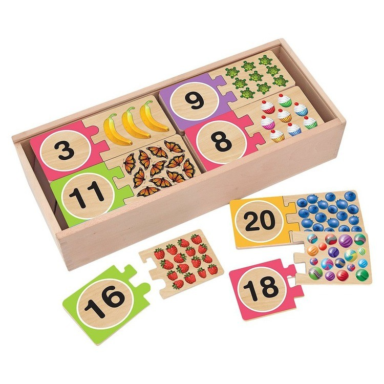 cheap Melissa & Doug Self-Correcting Wooden Number Puzzles With Storage Box 40pc competitive reasonable